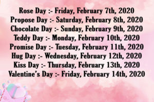 Valentine Day Week List 2020 with Wishes Images